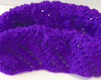 Hand knitted cowl, lace pattern, purple sparkly double knit weight neck warmer