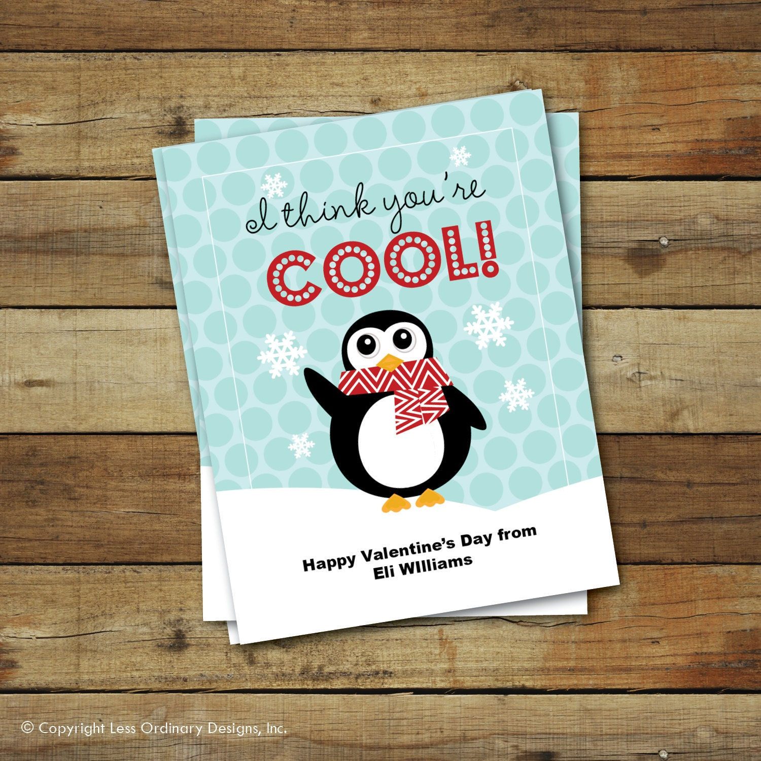 Printable Penguin Valentines Day Card I think