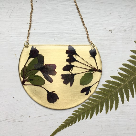Serviceberry flowers brass statement necklace