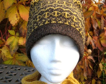 Fair Isle Hat in Scotch Broom Yellow and natural Brown Handmade from Pure Shetland Wool