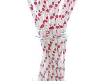 Red Party Straws, Large Straws, Polka Dot Paper Straws, Red and White Straws, 25 Pack - Red Polka Dot Straws