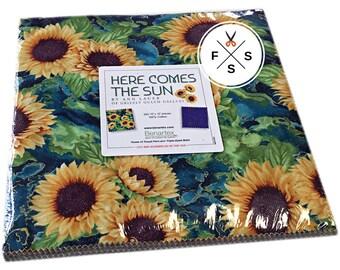 "SALE Fabric Benartex Here Comes The Sun Precut 10"" Fabric Squares Quilting Cotton Layer Cake Ann Lauer HCS10PK"