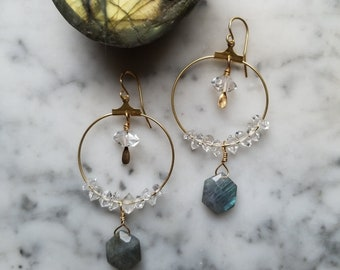 Brass hoops with labradorite and water clear herkimer diamonds