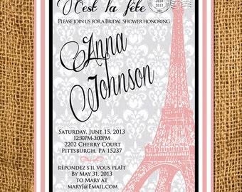 Parisian Themed Eiffel Tower Bridal Shower Invitation