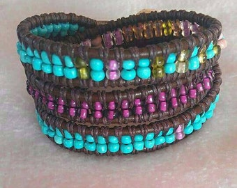 Colorful Bohemian leather wrap braclet.