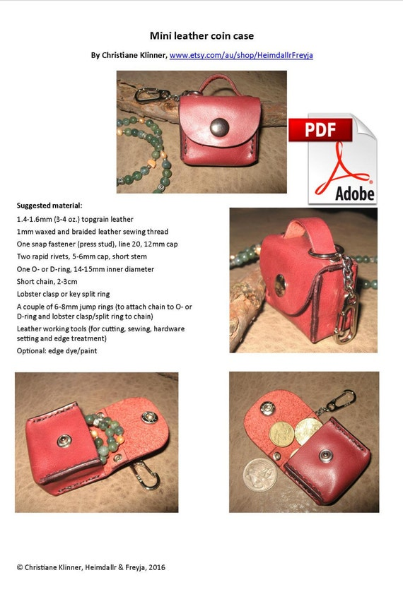 Pdf pattern mini leather coin case small accessories leather pdf pattern mini leather coin case small accessories leather accessories gifts for her valentines gifts do it yourself easy pattern from solutioingenieria Images