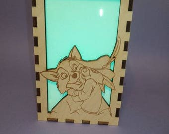 Robin Hood Etched Wood Color Changing Luminary