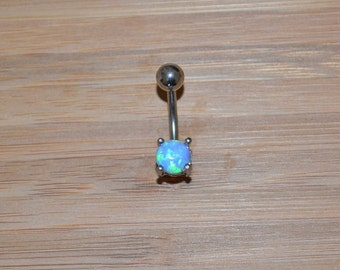 Petite Light Blue Simulated Opal Round Shape Prong Belly Button Ring Navel Body Piercing Jewelry
