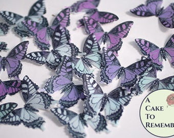 "24 light blue and purple edible butterflies. 1.5"" across. Woodland wedding cake topper, wafer paper butterflies for cupcake decorating."