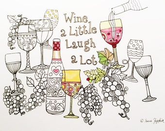 Sue Zipkin printable adult wine coloring page for instant download