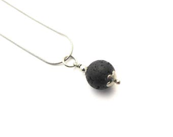 Lava stone necklace, black lava stone lavastone , stainless steel 1 mm snake chain, stainless steel finishing, essential oil diffuser