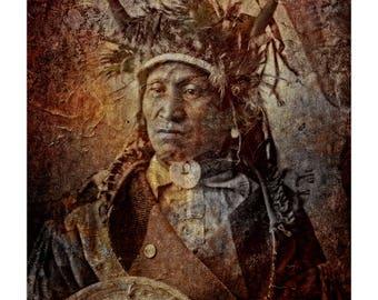 Fine Art Print of 'Assiniboine Chief' Native American Indian. American West, war bonnet, medicine man, tribal,wall decor. JoWalshArt