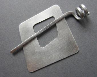 Wonky Square Shawl Pin 2 inch aluminum silvertone metal asymmetric modern artisan handmade