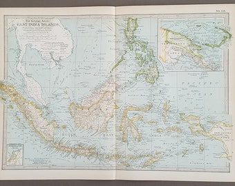 East India Islands Map,East Indian Islands,Sumatra New Guinea Philippines Map,Islands Pacific Maps,Wall Map Art,On World Map,1900 10x15