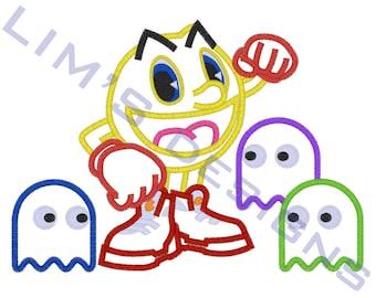 "Pacman -  applique machine embroidery design- 3 sizes 4x4"", 5x7"", 6x10"""
