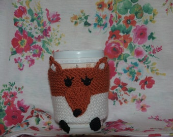 knitted girly fox cup cosy