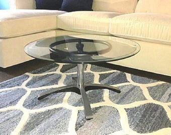 "16"" Tall Chrome & Brushed Aluminum Coffee Table, Stunning/Elegant, Modern Steampunk Furniture, Industrial, Upcycled, Repurposed, Handcrafted"