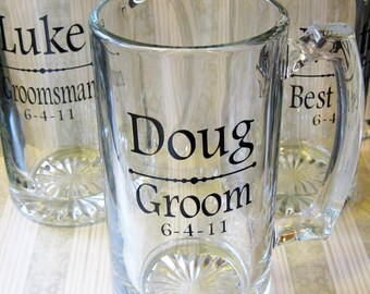 Groom Groomsmen Beer Stein Decals, Wedding Decals, Wedding Party Glass Decals, Glasses NOT included..