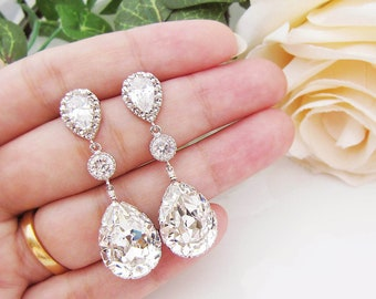 Wedding Jewelry Bridal Earrings Bridesmaid Earrings Dangle Earrings Swarovski Crystal and Cubic Zirconia Tear drop Earrings (E-B-0008)