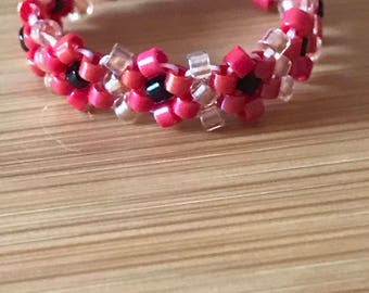 Beaded Daisy Chain Ring in Bright Red