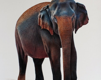 elephant fine art painting, realistic painting, hand painted