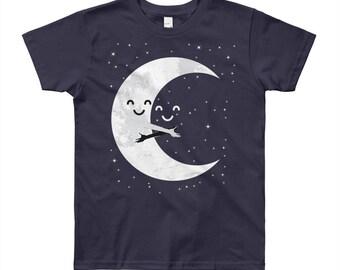 Earth and Moon Hug T-Shirt | Moon T-Shirt | Youth Short Sleeve T-Shirt