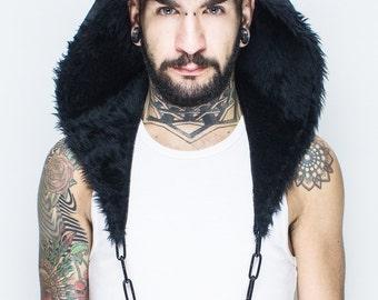 Furry Animal Hood BLACK PUMA with Chain