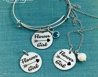 Flower Girl Jewelry, Birthstone Necklace, Flower Girl, Pearl Necklace, Flower Girl Necklace, Flower Girl Bracelet, Bridal Party Jewelry,