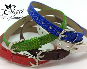 BRACELET leather creating jewelry choice blue green white brown red 22cm