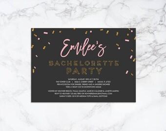 Printable Confetti Theme Bachelorette Invitation