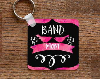 Band Mom - Pink Music and Birds Themed Keychain