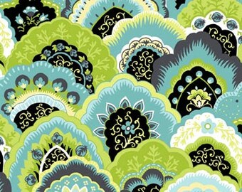 Ainsley Lime Twist Paisley Scallops Fabric 1 Yard
