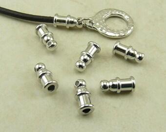 6 TierraCast 2mm Pagoda Leather Cord End - Shiny Silver Rhodium Oxide Plated Lead Free Brass - I ship Internationally 0200