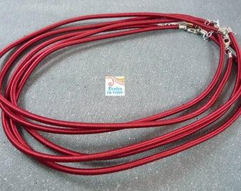 1 Burgundy silk necklace Choker 46cm (COL13), 3mm