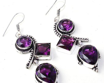 Earrings Bohemian silver and Amethyst. Vintage earrings. Vintage earrings. Vintage earrings. Amanara