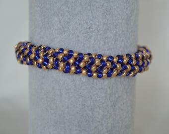 Blue and Gold Beaded Bangle