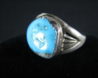 Maker Marked - Sz 11 Vintage Mens Turquoise Ring