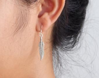 Sterling Silver Feather Earrings, Bohemian Earrings, Native Earrings, Boho Earrings