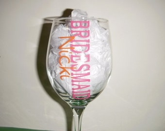 Bridesmaid Personalized Wine glasses with name and title