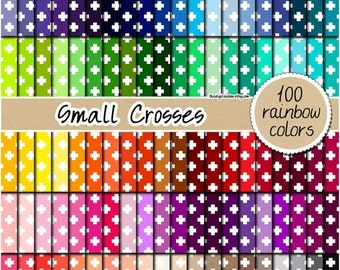 SALE 100 cross digital paper rainbow cross paper cross pattern geomatric print digital scrapbooking printable 12x12 pastel neutral bright da