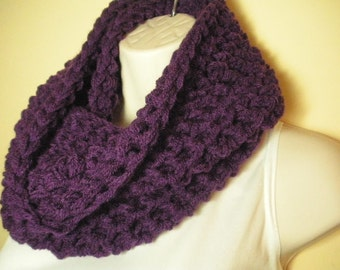 Dark Orchid Purple Cowl Infinity Circle Scarf Neckwarmer