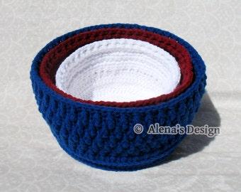 Crochet Basket Pattern - Nesting Baskets in three sizes Crochet Patterns Basket Pattern Storage Round Baskets Crochet Pattern Home Decor
