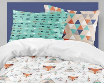 Twin Bedding Boy Fox Teepee, Toddler Bedding Boy, Twin Or Toddler Tribal  Comforter, Woodland Twin Sheet, Toddler Sheet, Sheet U0026 Pillowcase