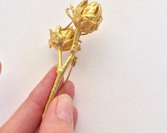 PRETTY Vintage Gold Poppy Flower Brooch