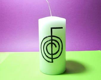 Reiki candle,essential candle,meditation candle,healing candle,decoupage candle handmade,choku rei candle