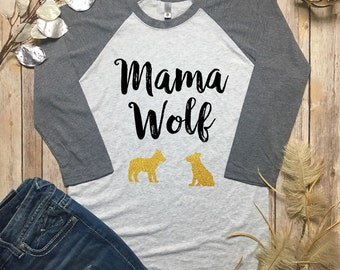 Mama Wolf Raglan - Momma Wolf Shirt - Gifts for Moms - New Mom Gifts - Mom Life Shirt - Mommin Aint Easy - Mama Wolf and Baby Wolf Set