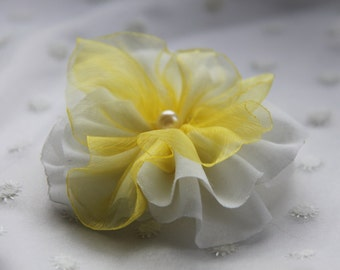 Flower Hair Pieces, Floral Hair Clips, Floral Hair Accessories, Flower Head Accessories, Fabric Flower Brooch, White Yellow Flower Hair Clip