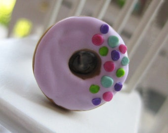 Pink Donut with Colorful Sprinkes Ring _ 1/12 Dollhouse Scale Miniature Food _ Polymer Clay _ Foodie Gift _ Donut Collection