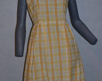 1950 60s day dress. Yellow and gold Stripes.  A line pleats sleevelesss. Petite Small Bust 36