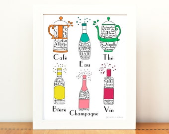 Kitchen Art French Drinks 8x10 art print poster French Alcohol Beverages Typographic wine champagne beer water coffee tea drawing